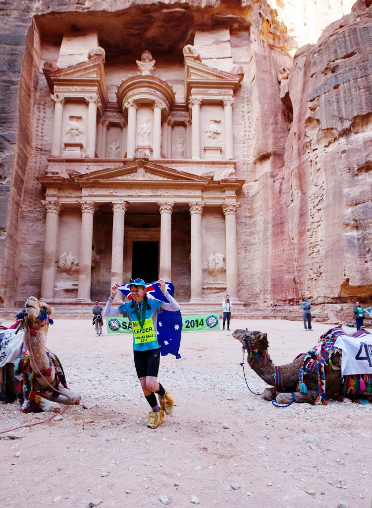 Sandy crossing the finish line of the Sahara Race in Petra, Jordan