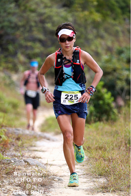 Jeri on the trail at the Lantau 70