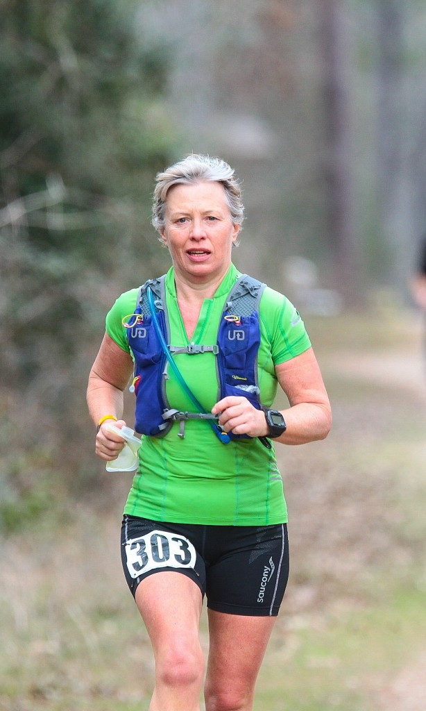 Rosemary on the trails at the Rocky Raccoon 100